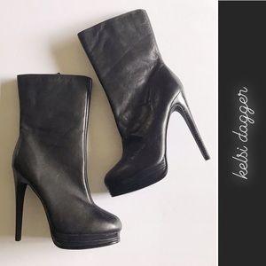 Kelsi Dagger Carlotta Black Leather Ankle Boots 6